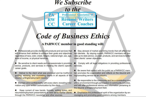 code of business ethics professional association of rsum writers career coaches - Professional Association Of Resume Writers