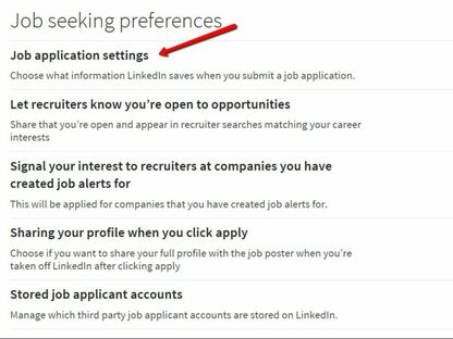 LinkedIn 2019 settings for Jobseekers.