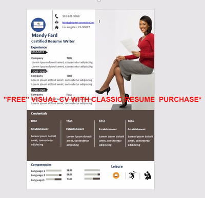Professional Resume Writing Services · Visual Resume (Free Gift)   Designs  May Vary