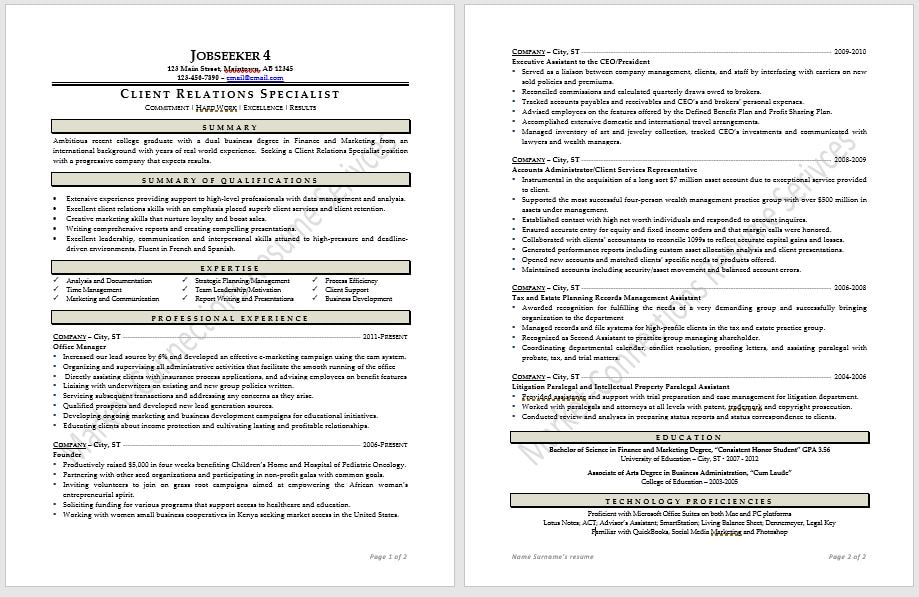 Cutting Edge Industry Specific Resume Samples Certified Resume
