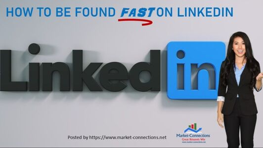 A smiling lady in front of LinkedIn wall and a logo of https://www.market-connections.net
