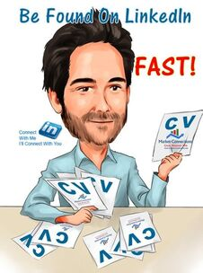 Cartoon of LinkedIn CEO  scanning blank cv's with logos of https://www.market-connections.net posted on them