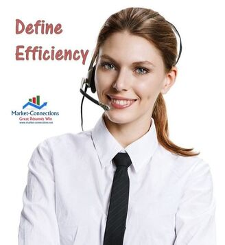 A lady with headphones and the title is Define Efficience with a logo of https://www.market-connections.net