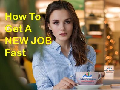 A lady is sitting and has a cup with the logo of https://www.market-connections.net. Title is How To Get A NEW JOB Fast