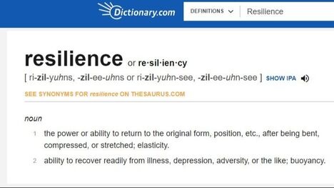 Picture of Dictionary.com with meaning of resilience posted by https://www.market-connections.net